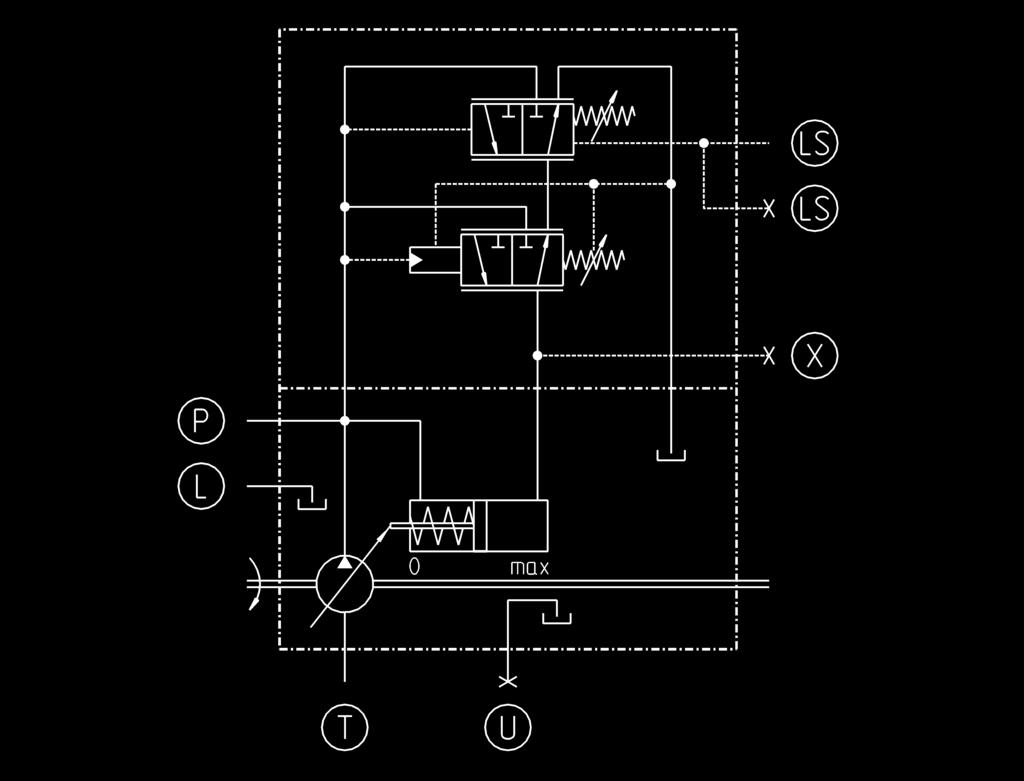 Hpr 02 Self Regulating Pump For Open Loop Operation Pdf Hydraulic System Diagram Besides Schematic On Type Of Control Ls With Pressure Cutoff In Addition To The Load Sensing Function