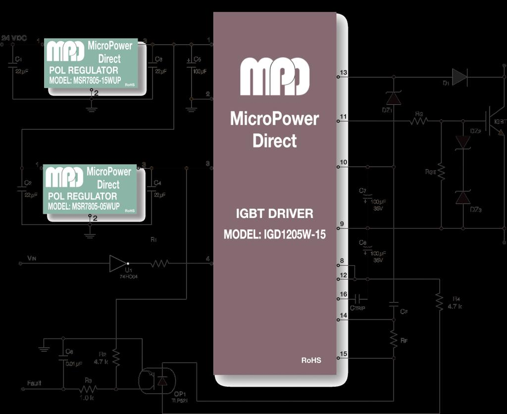 Micropower Direct Mpd Pdf Igbt Mosfet Tester As Well Inverter Circuit Diagram On Typical Connection This Figure Illustrates An Using Industry Standard Hybrid Driver