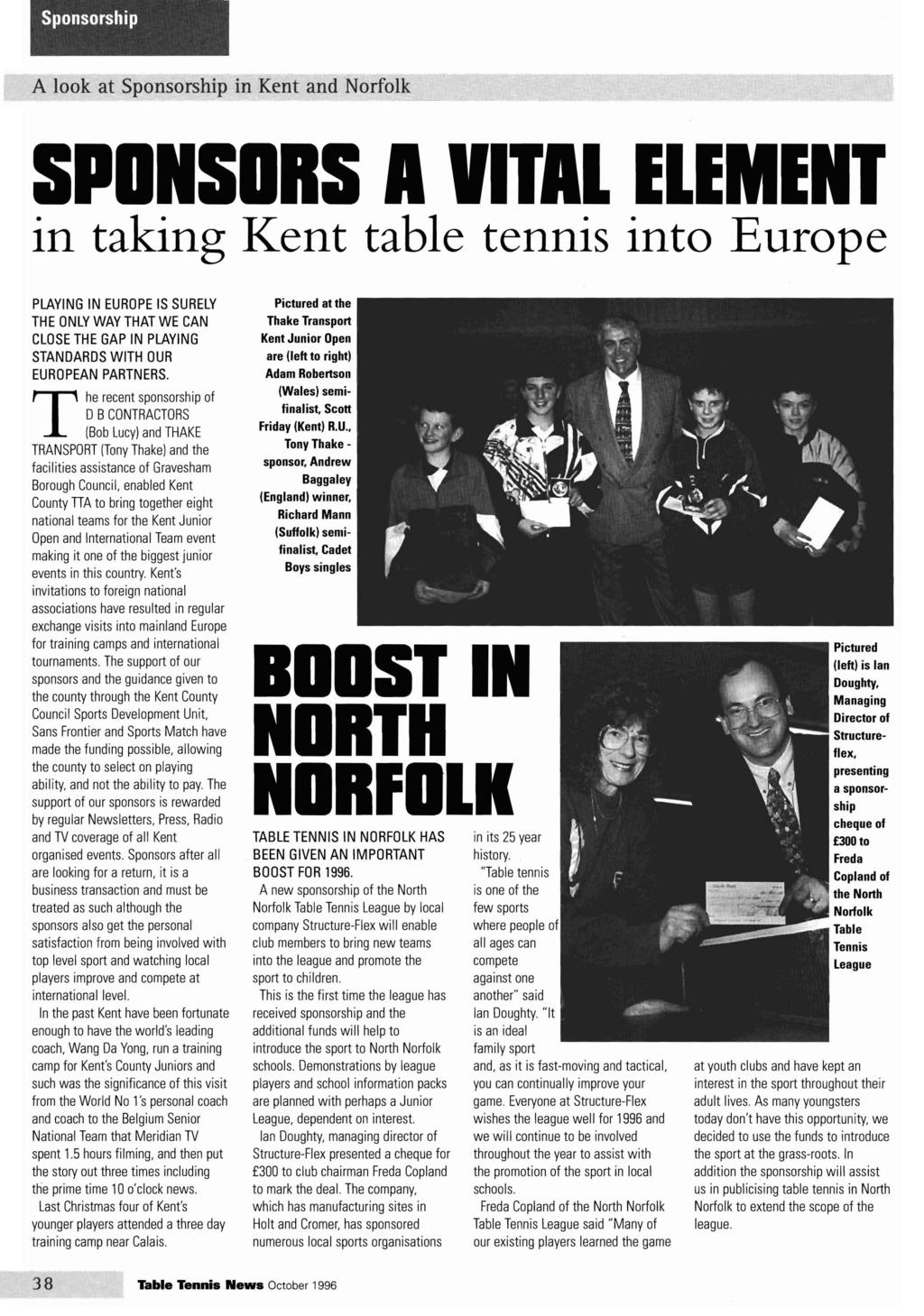 Sponsorship A look at Sponsorship in Kent and Norfolk SPONSORS TL ELEMENT  in taking Kent table 4cac79df7