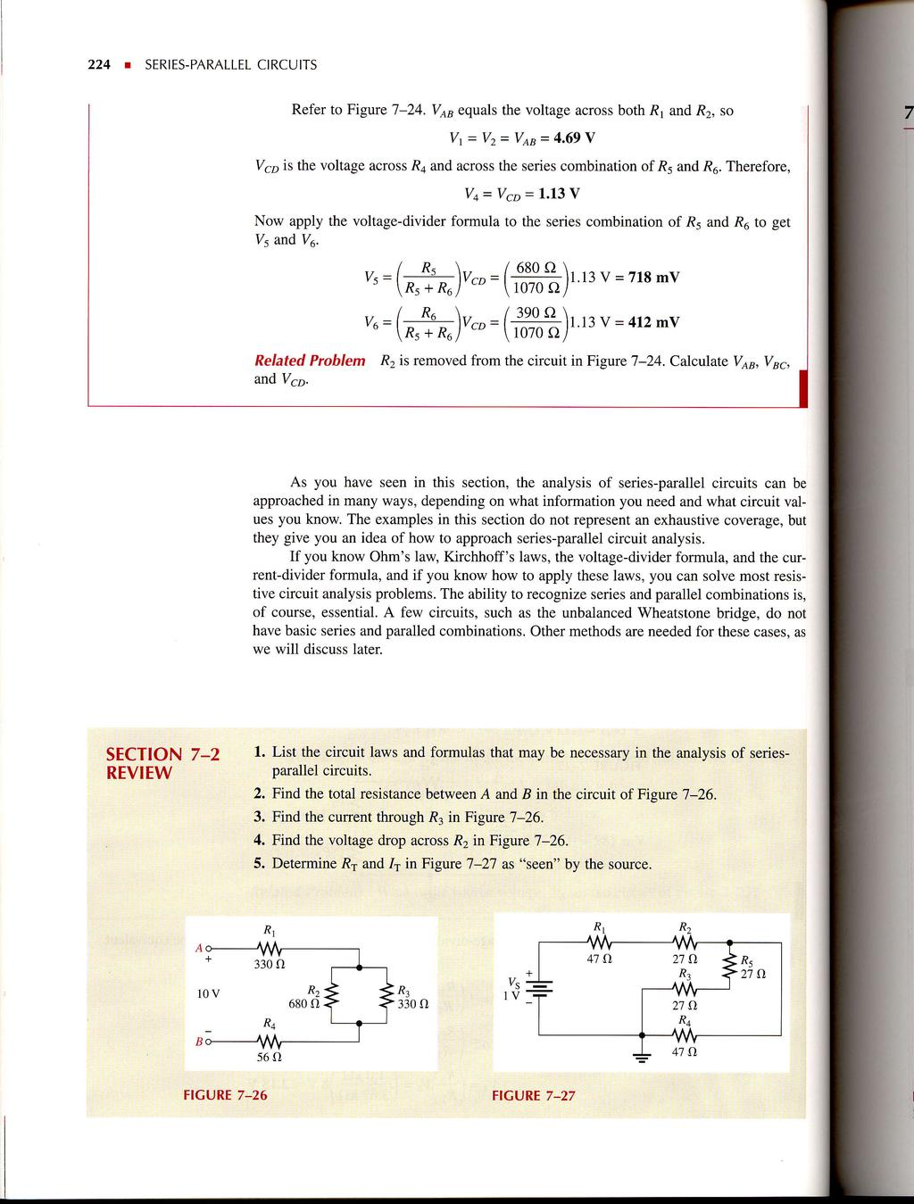 Seriesparallel Circuits Pdf Current Divider 224 R Series Parallel Refer To Figure L 24 Vab Equals The