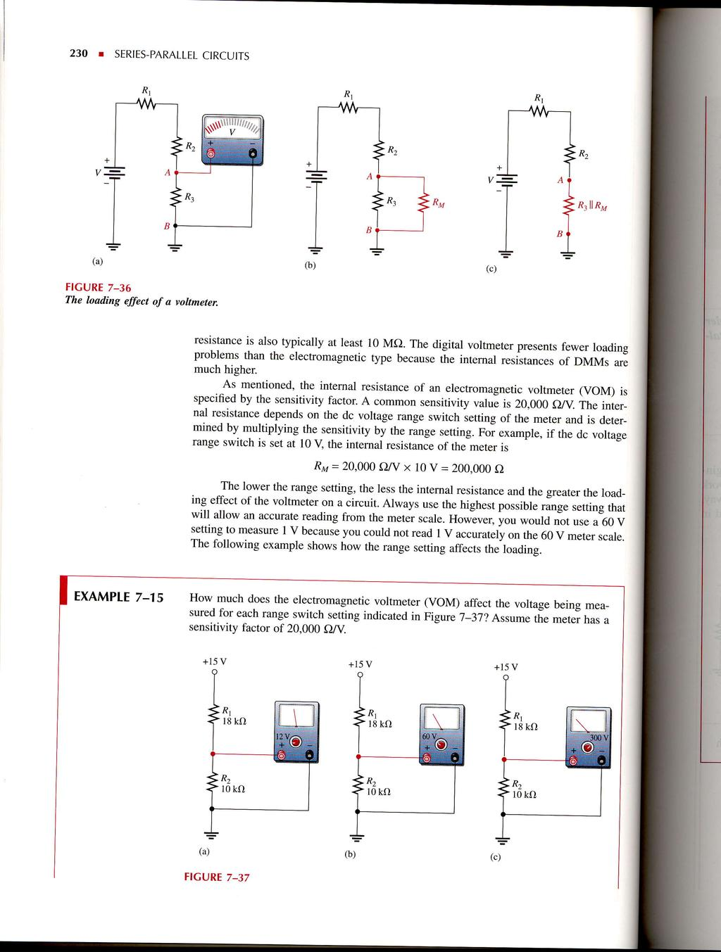 Seriesparallel Circuits Pdf Related Image With Digital Voltmeter Circuit 230 I Sertes Parallel Rl Al Figure 7 36 The Loading Effect