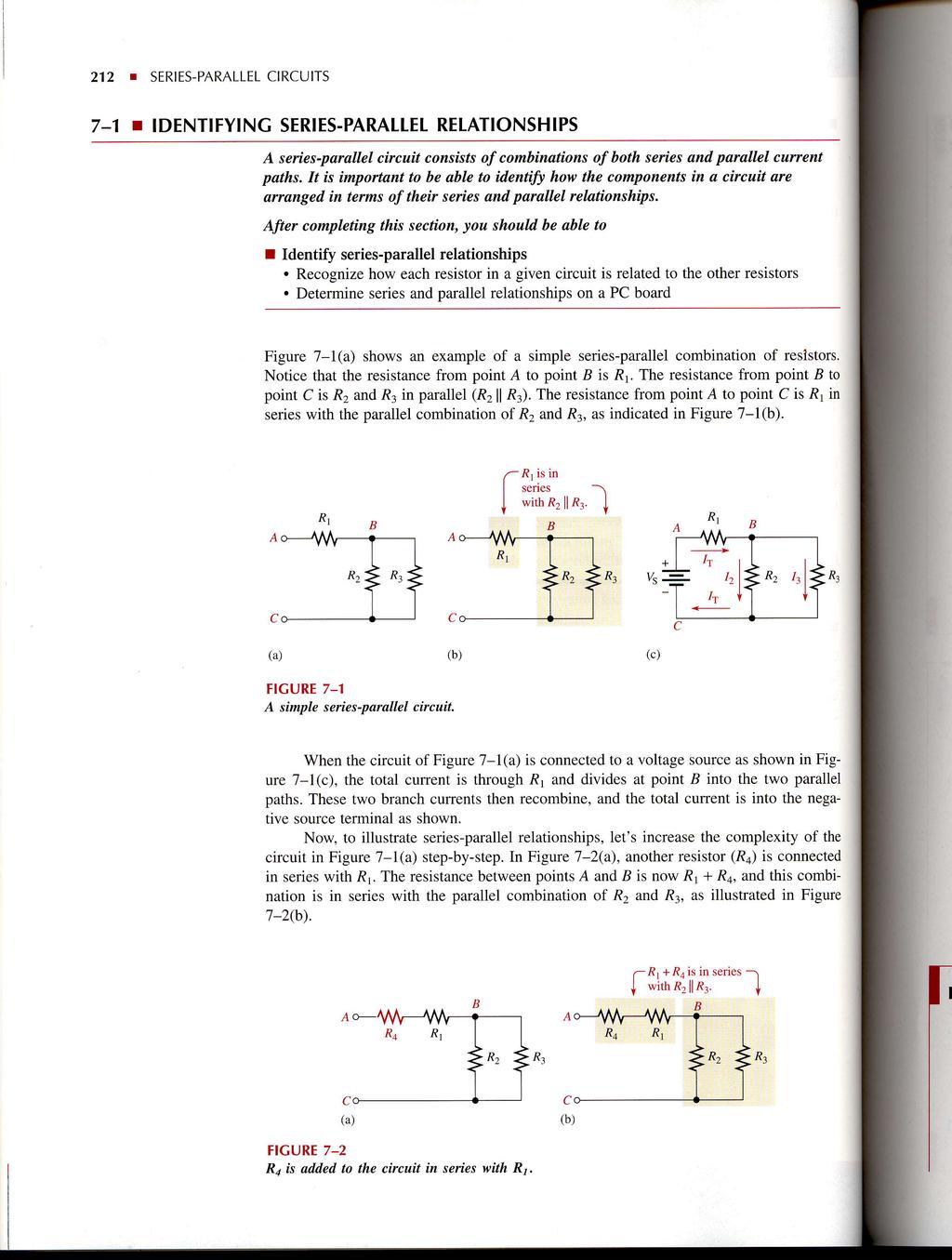Seriesparallel Circuits Pdf Circuit Examples Resistors In Series And Parallel Resistor 212 T 7 1 Identifying Seriesparattel Relationships A