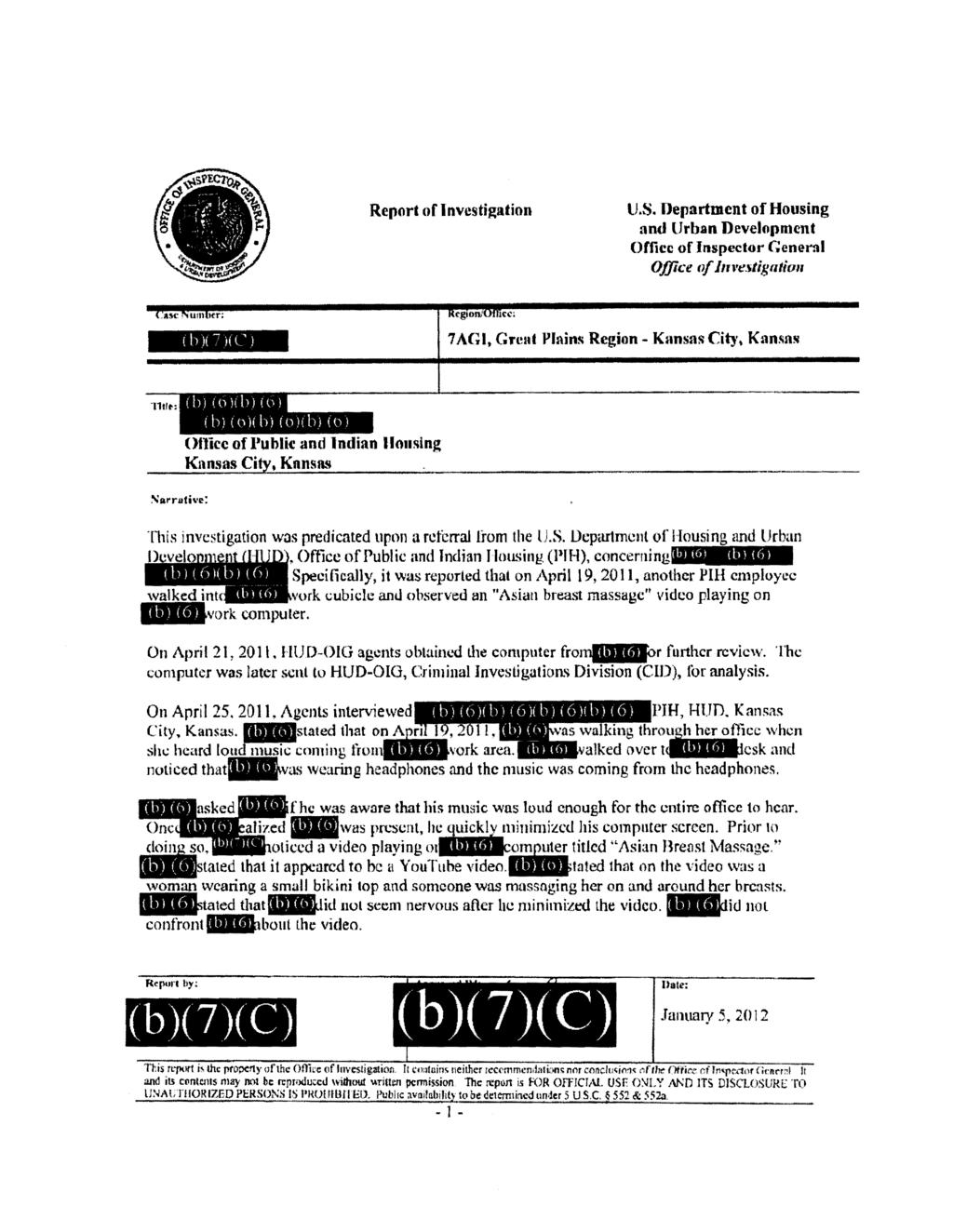 Development Hud Office Of Inspector General Oig Investigations Of Hud Employees Pdf Free Download