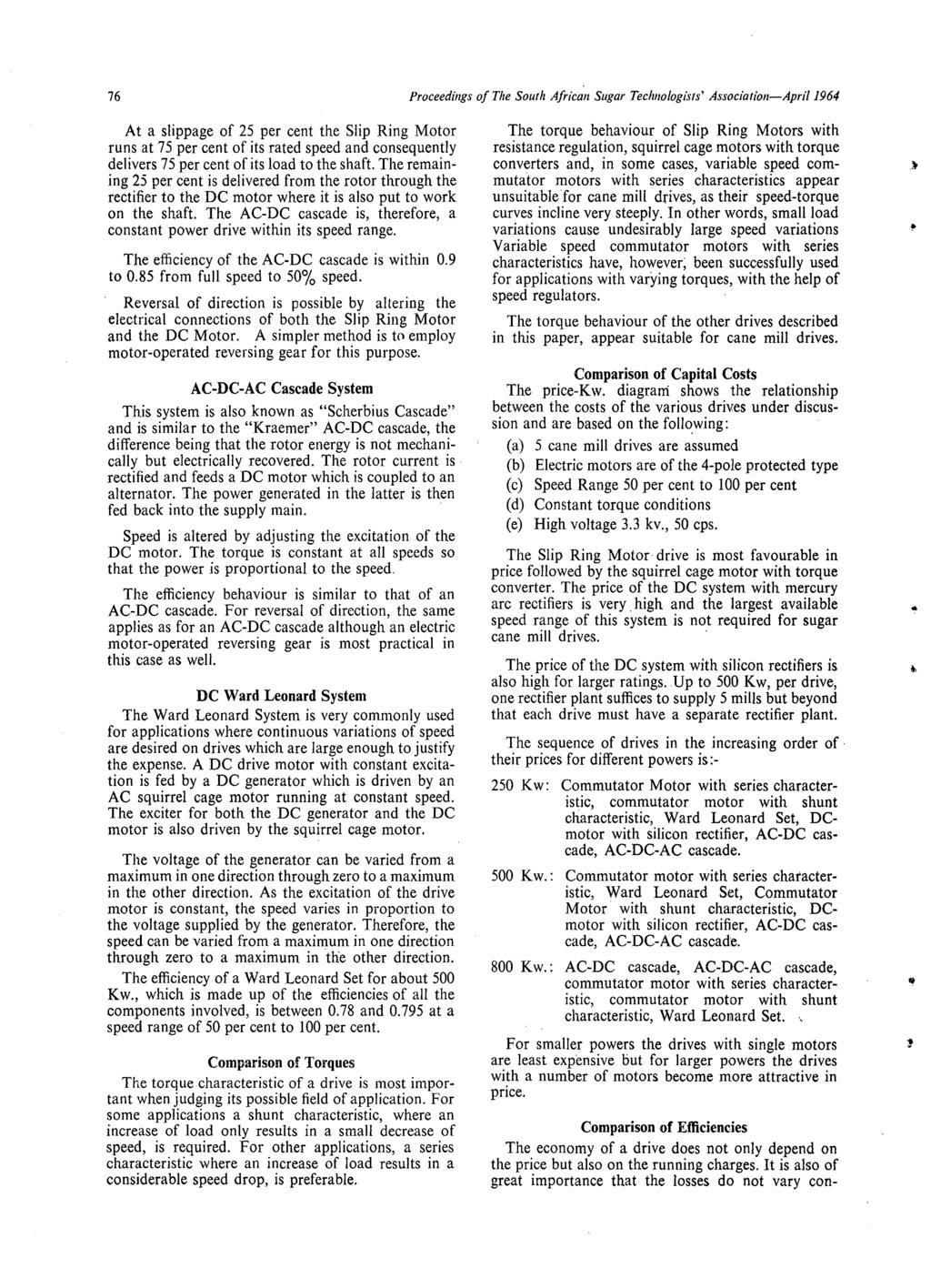 Comparison Of Various Electrical Drives Suitable For Cane Crushing Dc Shunt Motor Wiring Diagram Also Besides 76 Proceedings The South African Sugar Technologists Association April 1964 At A Slippage