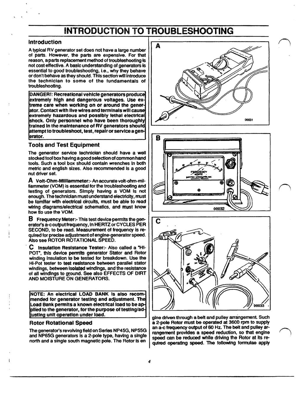ntroduction NTRODUCTON TO TROUBLESHOOTNG A typical RV generator set does  not have a large number of