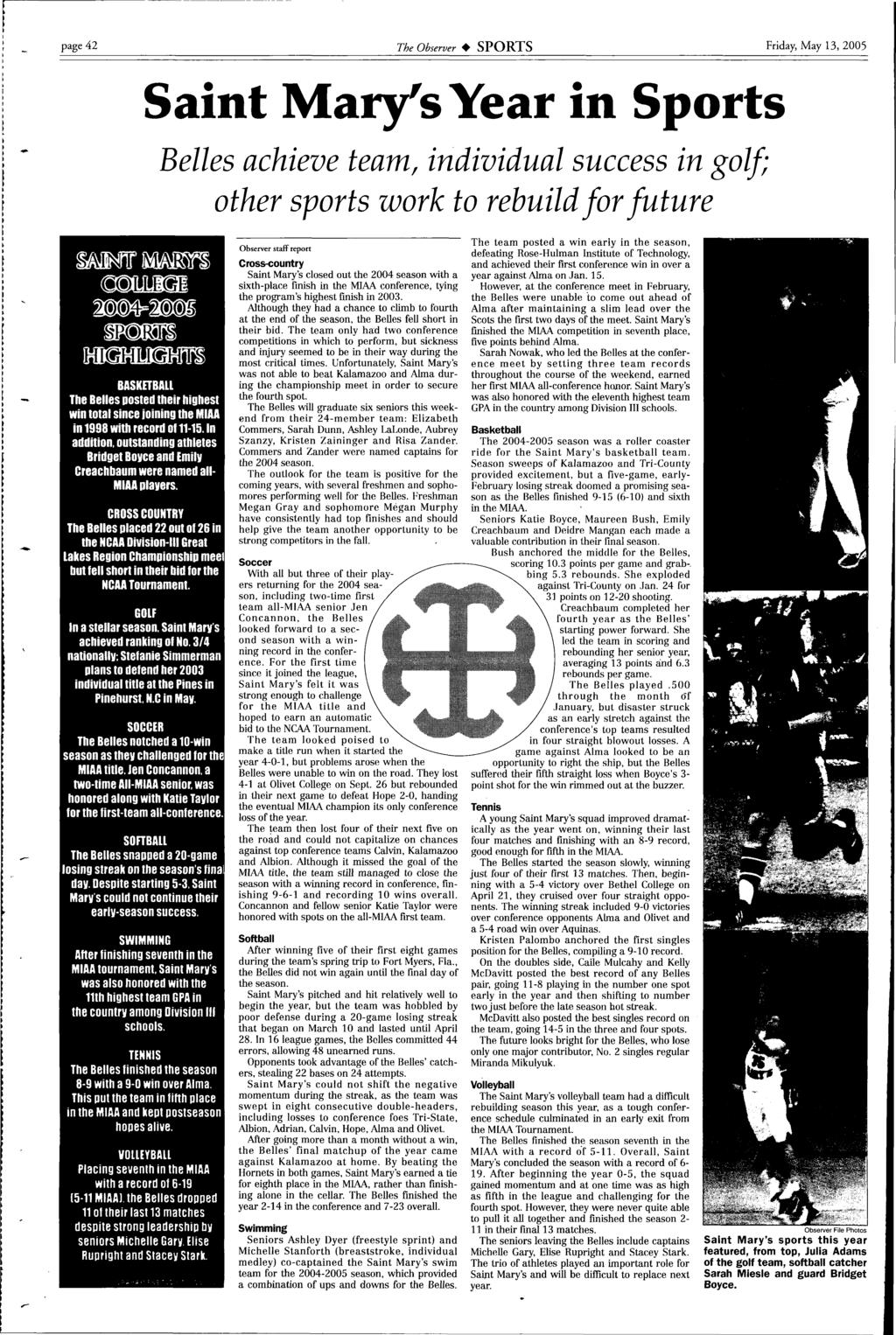 Rectors Leave Nd Transition At The Top See Story Page 16 Monk Nokha Rider Coffee Black Men Cokelat Tua 42 Observer Sports Friday May 13 2005 Saint Marys Year