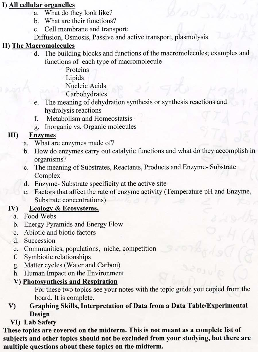 1 Biology Midterm Review