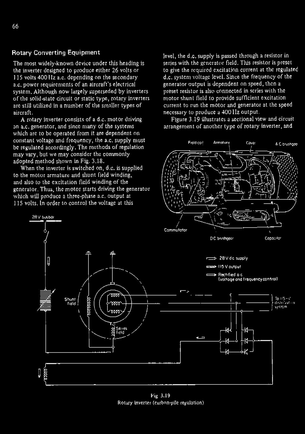Aircraft Electrical Systems Pdf Fig 22 Shunt Or Compound Dc Motor Circuit Diagram A Rotary Inverter Consists Of Driving An Ac Generator And Since Many