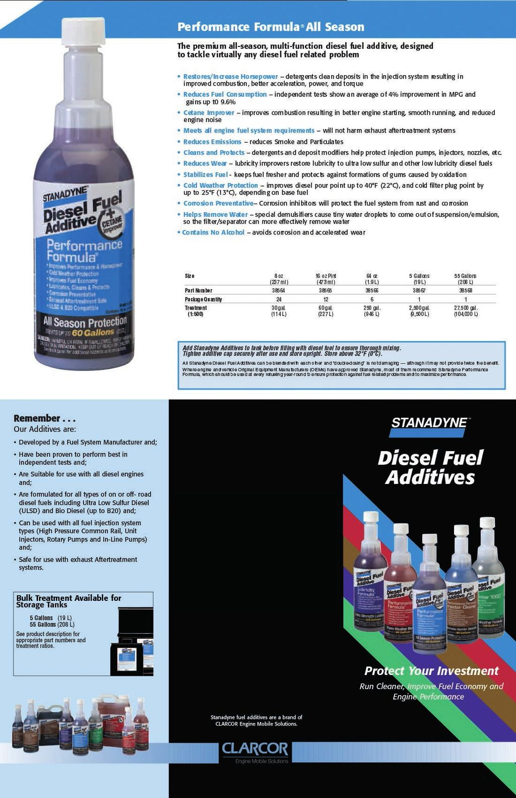 Performance Formula  Diesel Fuel Additive OVERALL AVERAGE