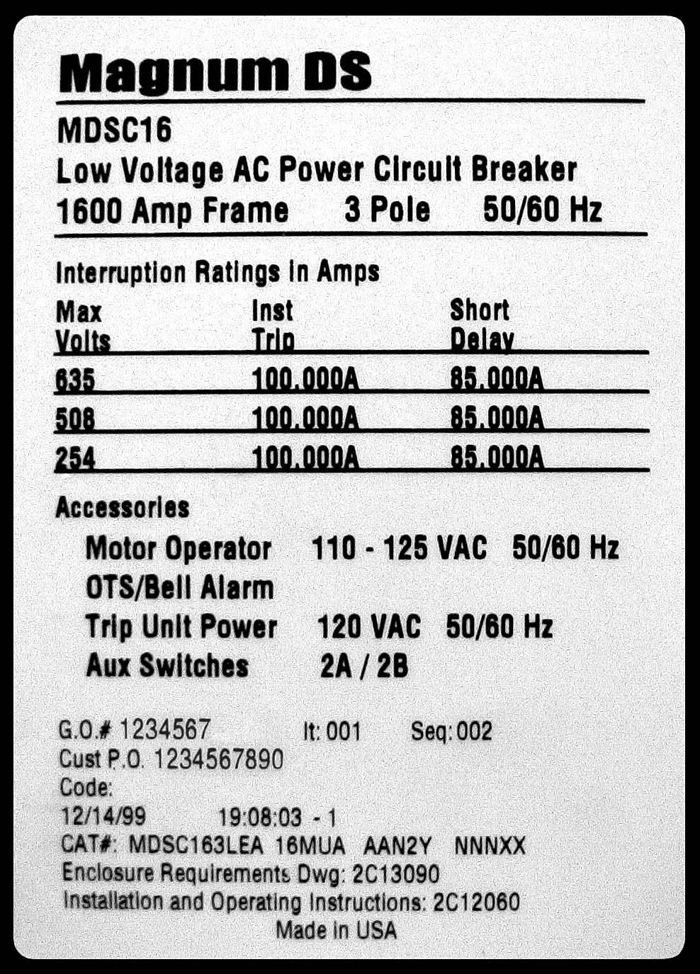 Circuit Low Voltage 120vac Power Line Alarm Designed By Dave Magnum Ds Air Breakers Renewal Parts And Accessories Pdf Om Procedure For Identifying Breaker Type The Catalog Number Is A 25 Digit Located On