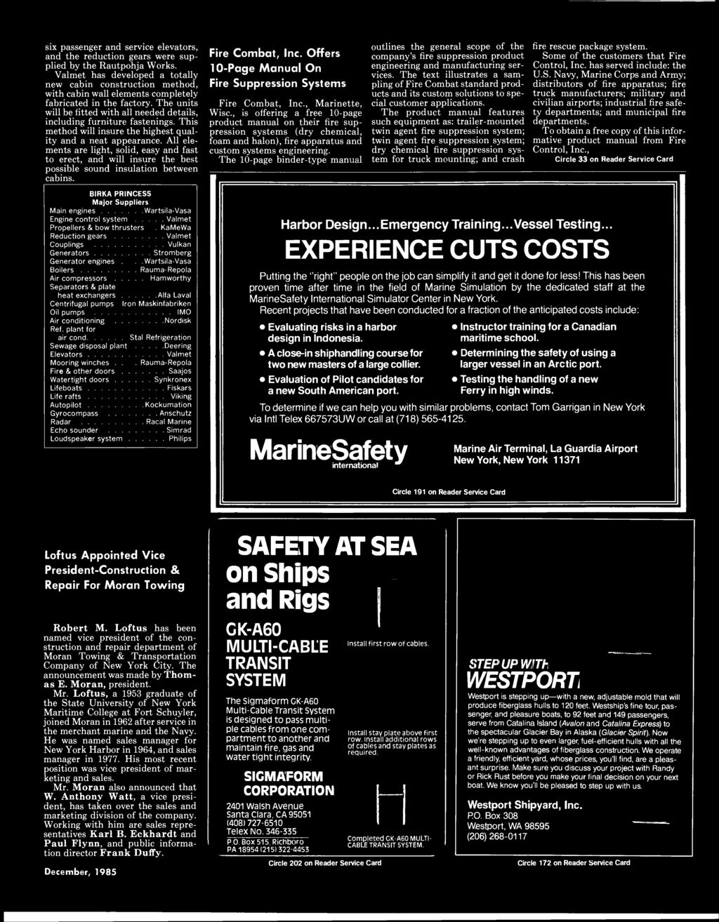 Maritime Reporter Engineering News Fflllbble Ib M1 M December 1985 104086101 Fincor Circuit Board Repair Six Passenger And Service Elevators The Reduction Gears Were Supplied By Rautpohja Works