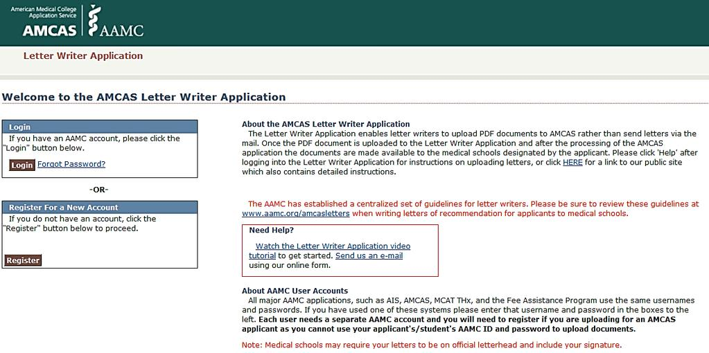 amcas letter writer application use your aamc account or create one to