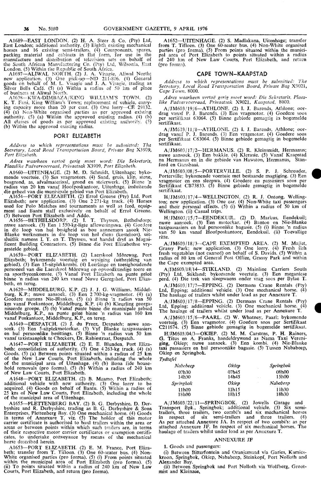 Republic Of South Africa Government Gazette Staatskoerant Van Die Wiring Diagram Trailer Spares For Sale Venter 36 No 5080 Gazetie 9 April 1976 Ai689 East London