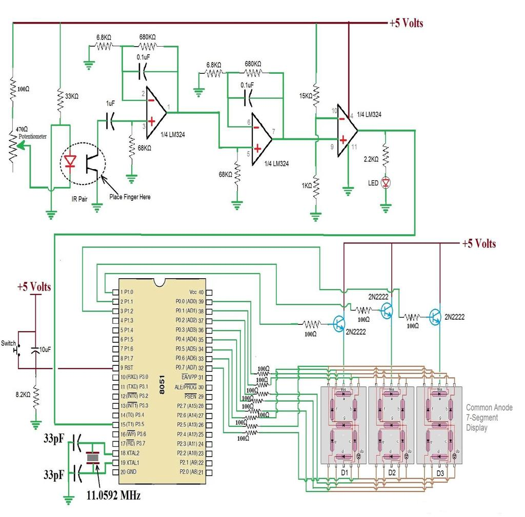 Biometric Pulse Counting System Using Microcontroller Pdf Circuit Diagram Of 8051 Development Board C The Output Display Unit This Module Consists Three Different 7 Segment