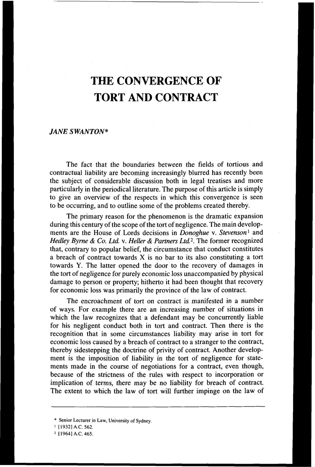contract liability in tort with contractual liability