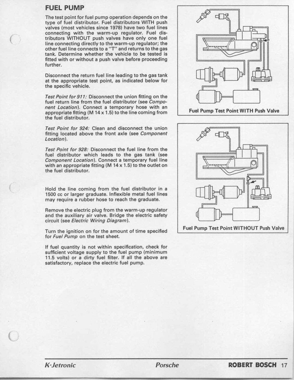 Workshop Manual Porsche K Jetronic Robert Bosch Pdf 1998 Volvo 5 0 Gl Fuel Filter Location Pump The Test Point For Operation Depends On Type Of Distributor