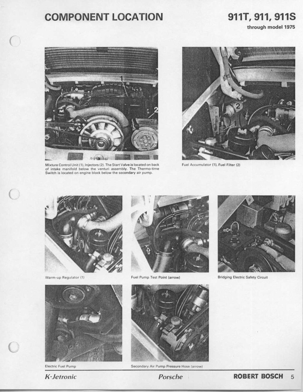 Workshop Manual Porsche K Jetronic Robert Bosch Pdf Vw Rabbit Gti Engines Further Fuel Pump Wiring Diagram On 1975 Beetle Component Location 911t 911911s Through Model Mixture Control Unit 1