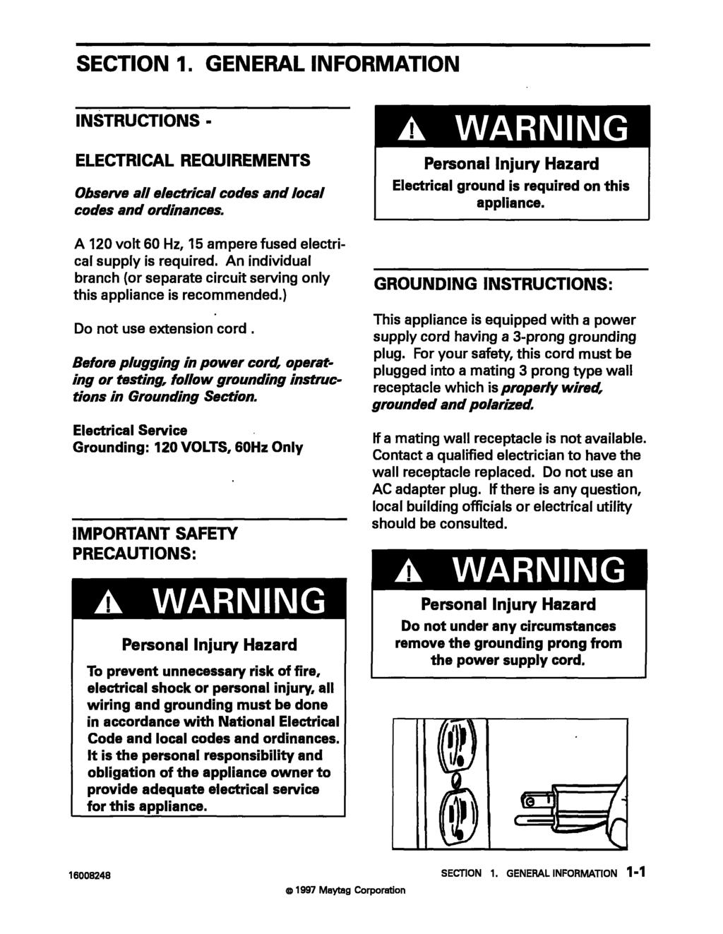 Maytag Customer Service Refrigeration Manual New Cabinet A C Condenser Wiring Diagram General Information Instructions Electrical Requirements Observe All Codes And Local