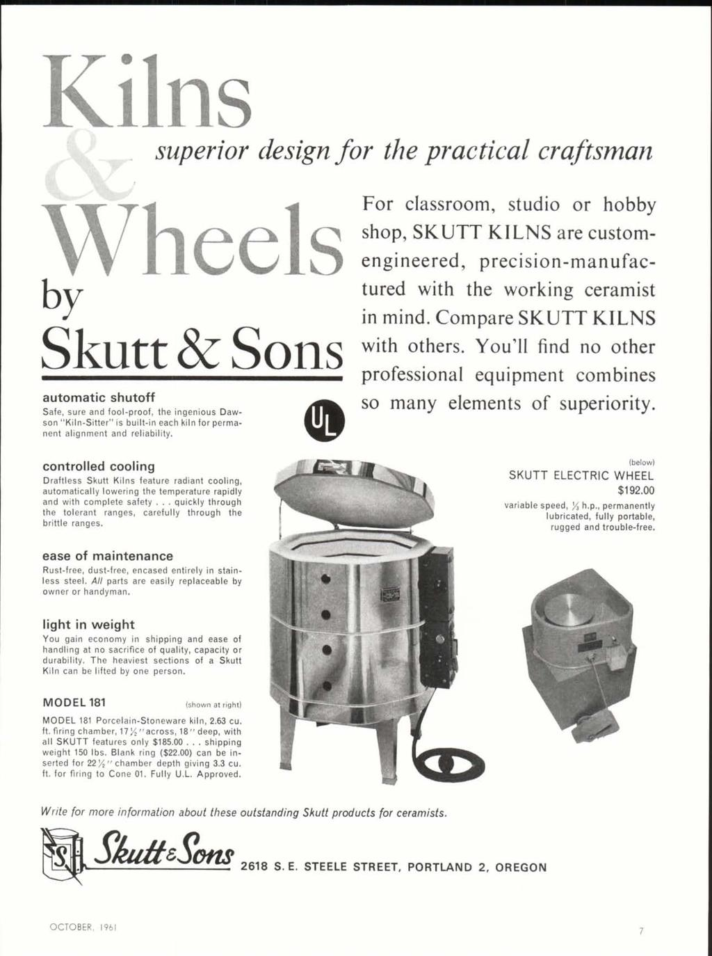 October 1961 50c I V 11 U B Pottery From The Toledo Area Pdf Skutt Wiring Diagram Kilns Superior Design For Practical Craftsman Wheels By Classroom Studio Or Hobby Shop