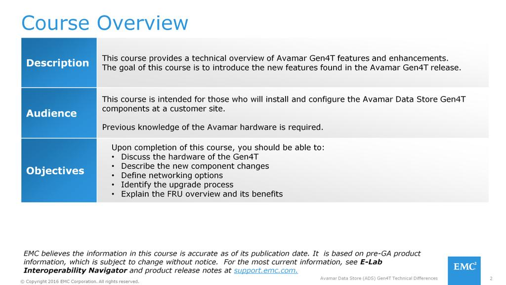 Welcome to Avamar Data Store (ADS) Gen4T Technical Differences  - PDF