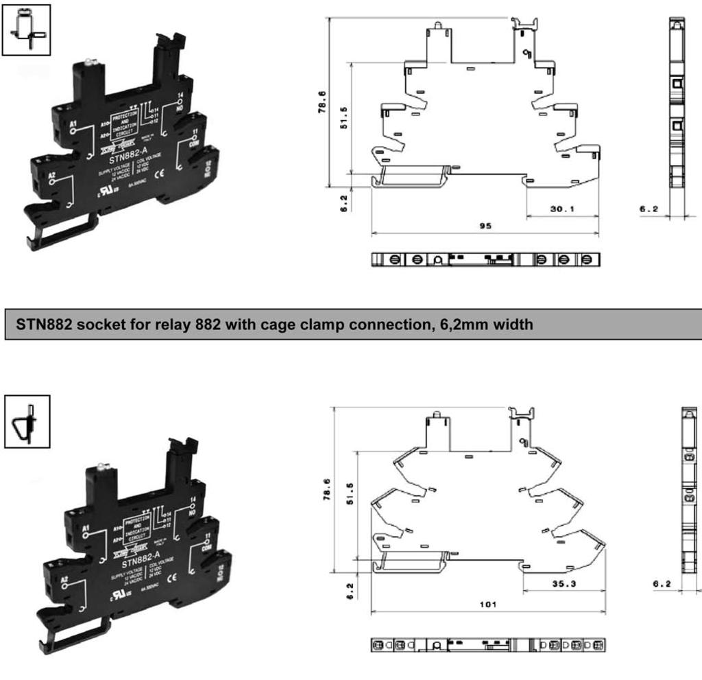 Industrial Relay Catalog Pdf 5 Pin Din To 35mm Wiring Diagram 882 Slim Rail Socket For 1 Pole 6a Features Protection Group