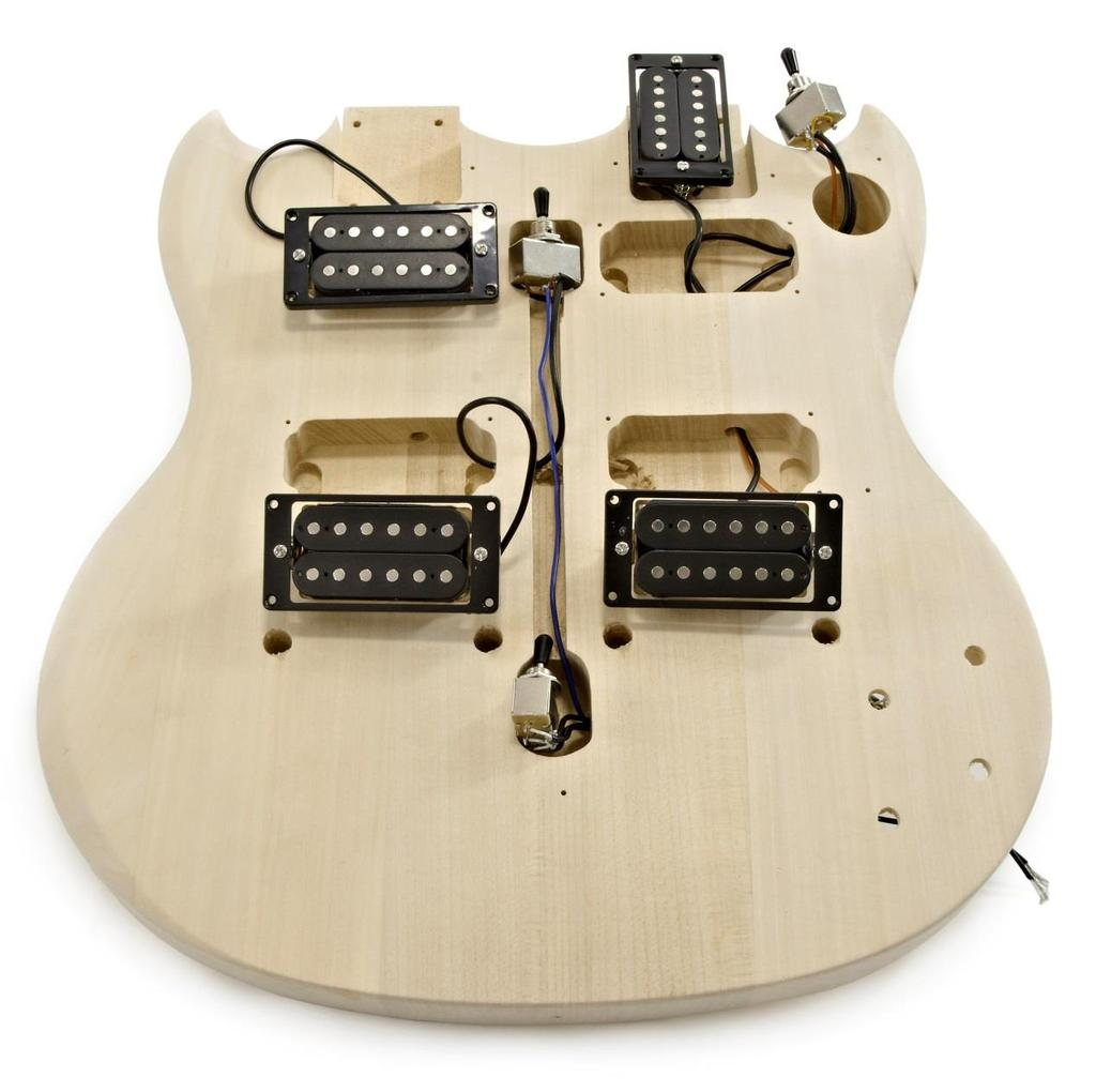Brooklyn Double Neck Diy Guitar Kit Pdf Aria Wiring Diagram Step 1 Position The Pickups 2 And Selectors 95 On Body