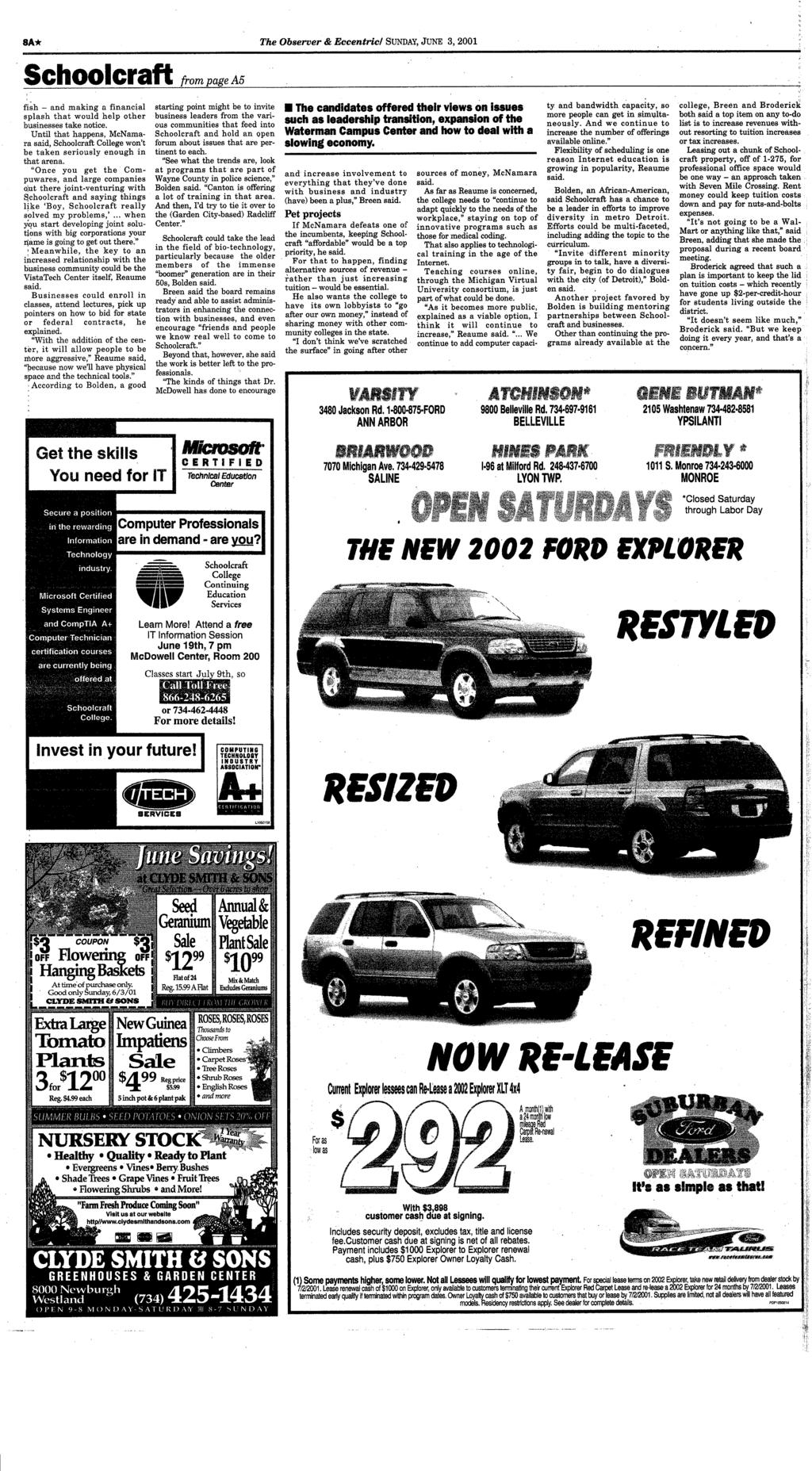 Canton Obaerue Your Hometown Newspaper Serving For 26 Years 1989 In Car Wiring Schematics Third Generation Fbody Message 8a The Observer Eccentric Sunday June 3 2001 Schoolcraft From Page