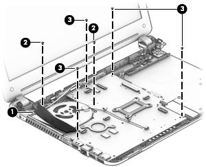 hp 355 g2 notebook pc and hp 350 g1 notebook pc maintenance and HP ProBook 640 G1 5 screws 2 that secure the system board to the base enclosure 6
