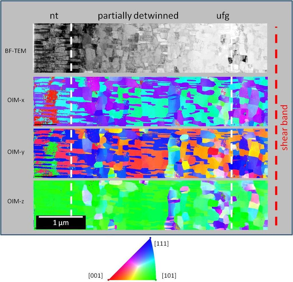Chapter 5 - Deformation behavior and microstructural stability of nanotwinned Cu under monotonic and cyclic loading Figure 5-17: (virtual) BF-TEM micrograph and orientation maps (OIM) in x ([100], in