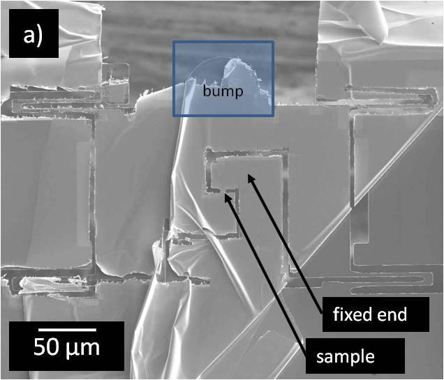 Chapter 4 - In situ TEM mechanical testing of nanocrystalline Cu Figure 4-1: SEM-micrograph of thin film sample machined in the FIB and attached to a PTP.
