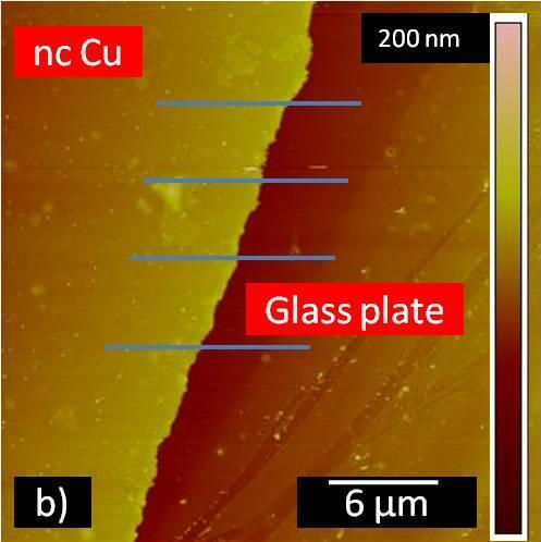 In the SEM a film thickness of 65 nm was measured in a cross section with the nc Cu between the mica substrate and a Pt bar (Figure 4-4 a).