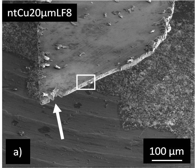Chapter 5 - Deformation behavior and microstructural stability of nanotwinned Cu under monotonic and cyclic loading Figure 5-10: SEM micrographs of the fracture surface of the fatigued sample with