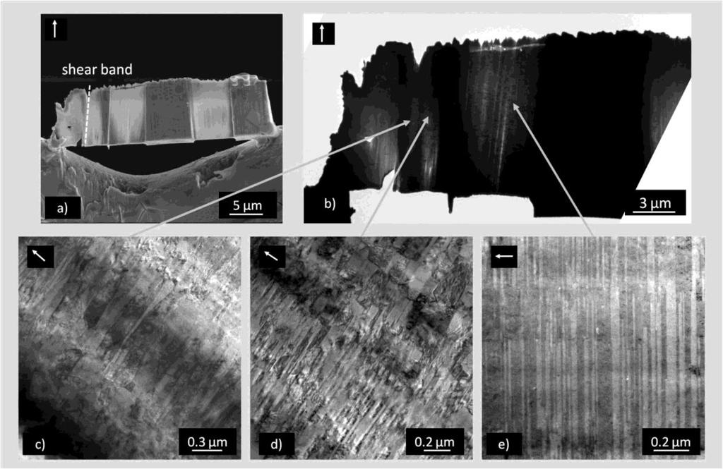Chapter 5 - Deformation behavior and microstructural stability of nanotwinned Cu under monotonic and cyclic loading Figure 5-14: (a) SEM micrographs of ntcu20µmt5 with the ruptured surface on the