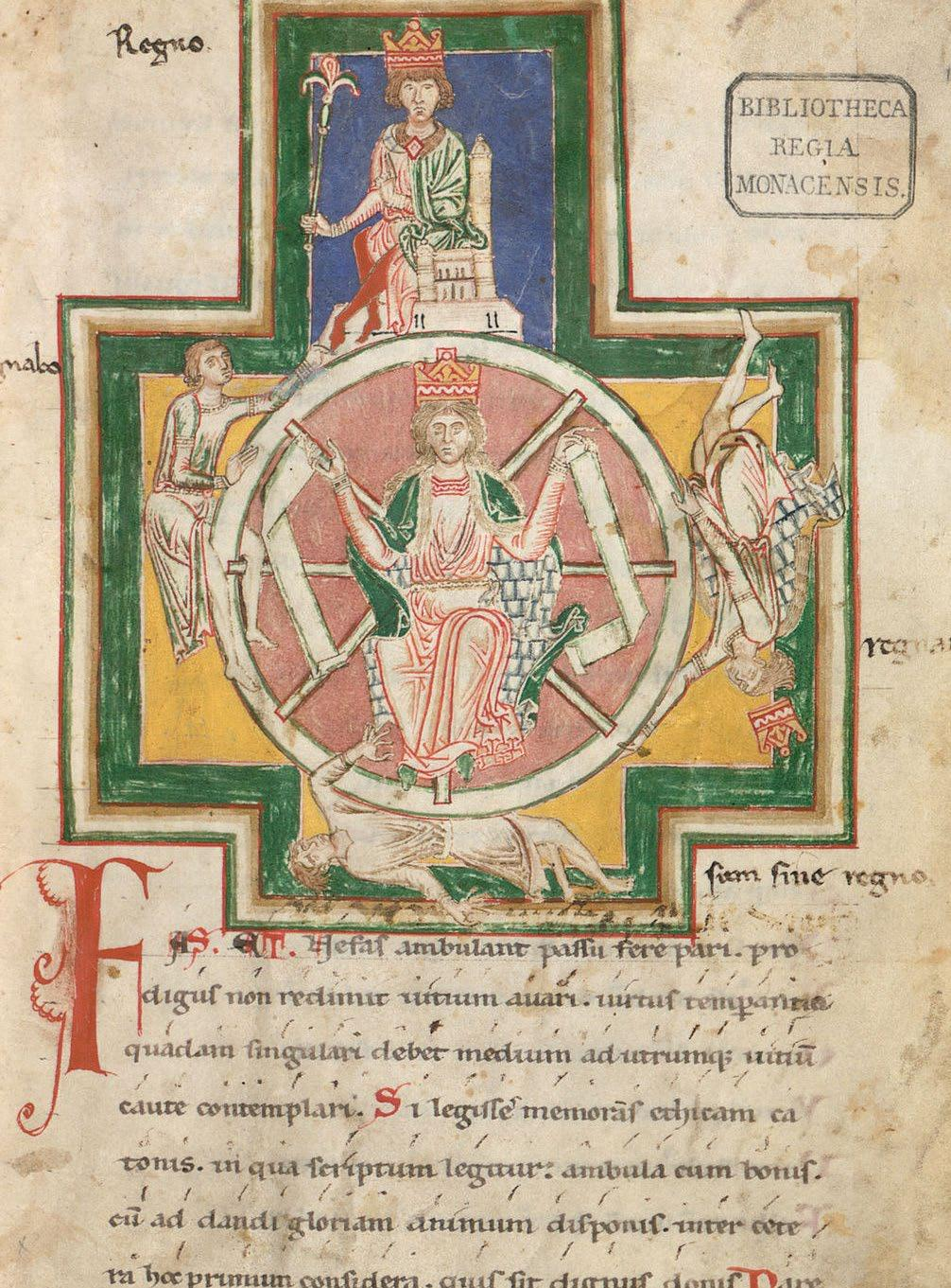Page from the Burana Codex, featuring the Wheel of Fortune