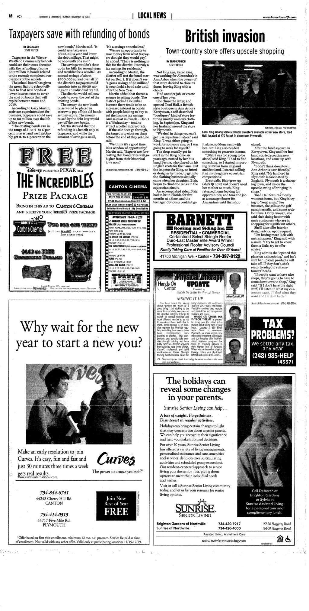 Since 2001 thursday ivwwhometownufe officials fear further c observer eccentric j thursday november 182004 local news www fandeluxe Image collections