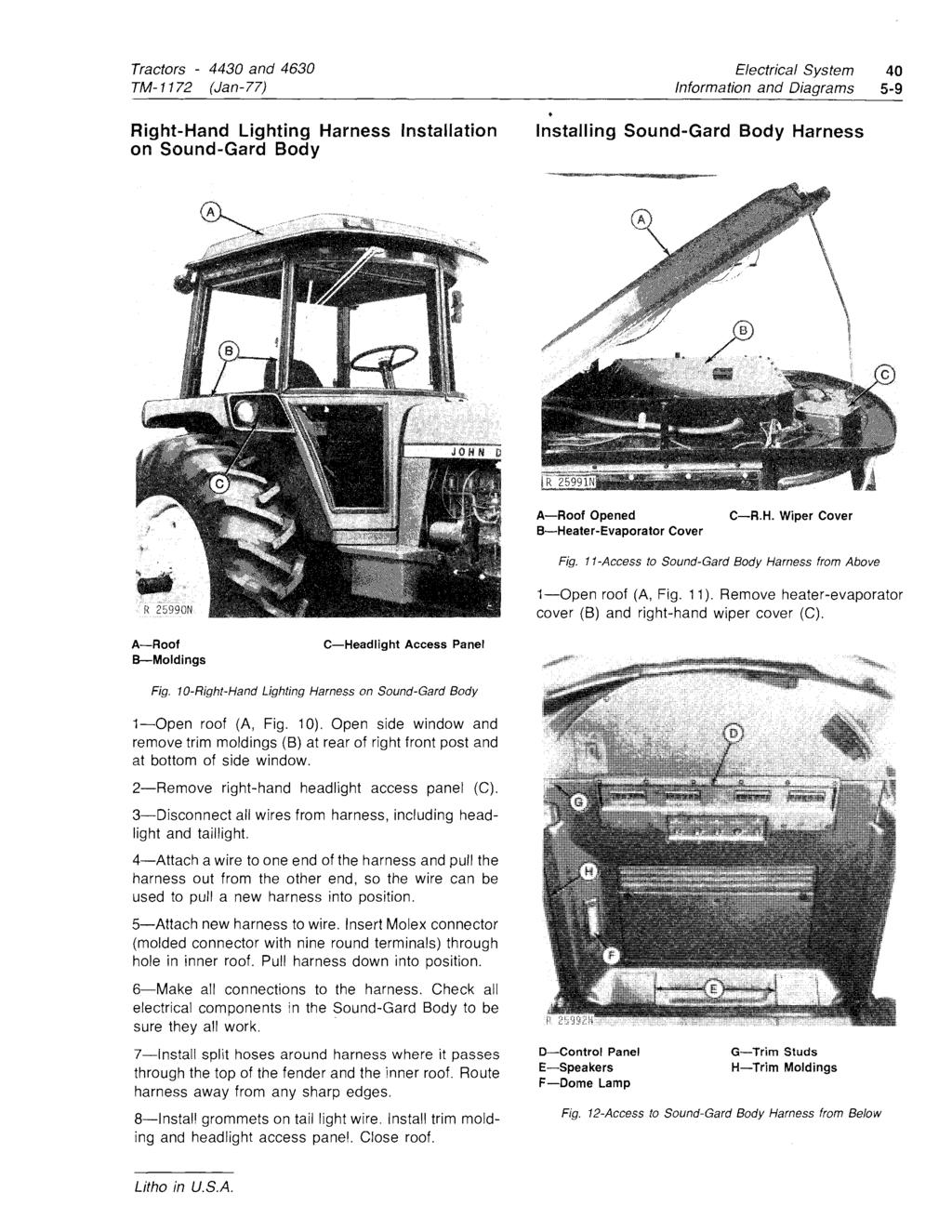 Model 4430 4630 Tractor Volume 1 Of 3 Pdf Hydro Lectric Power System Wiring Diagram For 1946 47 Chevrolet Convertible Bodies Tm 1172 Jan 77 Right Hand Lighting Harness Installation On Sound