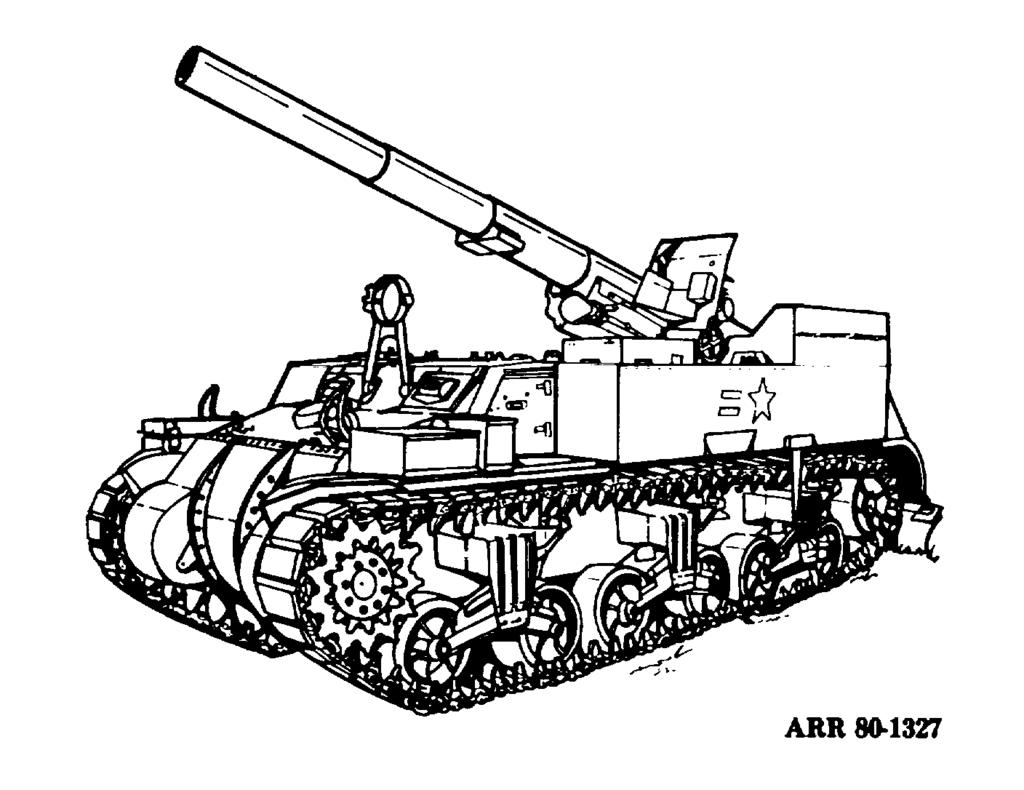 (2) The self-propelled weapons are as follows: (a) Guns. 1. M12 motor carriage 155-mm gun (fig 2-20). 2. M40 motor carriage 155-mm gun (fig 2-21). 3. M53 155-mm self-propelled medium gun (fig 2-22).