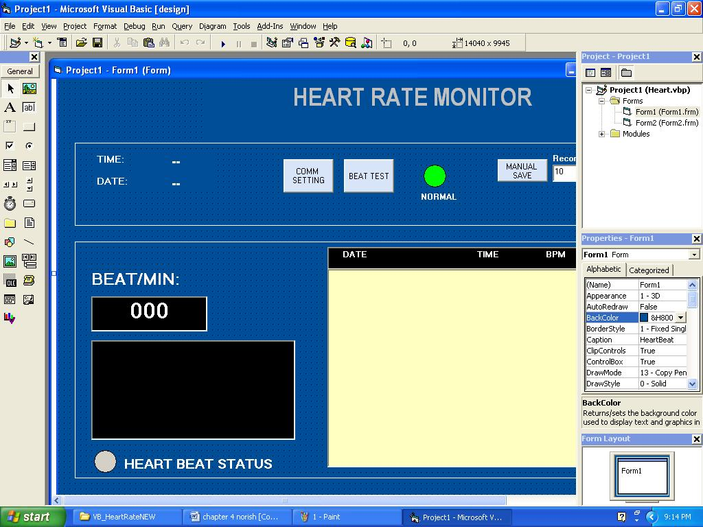 Heart Rate Monitor Norish Bin Mohd Sarife Pdf Figure 4 Circuit Diagram Of A Screenshot From Psoc 48 Monitoring System Visual Basic For The Gui Software That