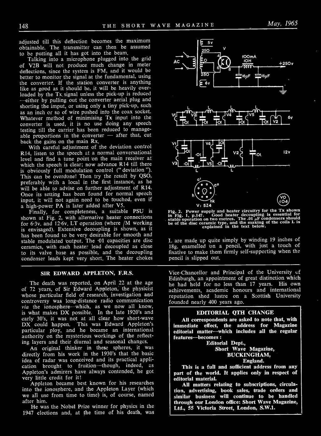 Kw Models For 1965 Ssb Transceiver 600 Linear Amp 2000a Beam Circuits Quad Opamp Walker Americanradiohistorycom 148 The Short Wave Magazine May Adjusted Till This