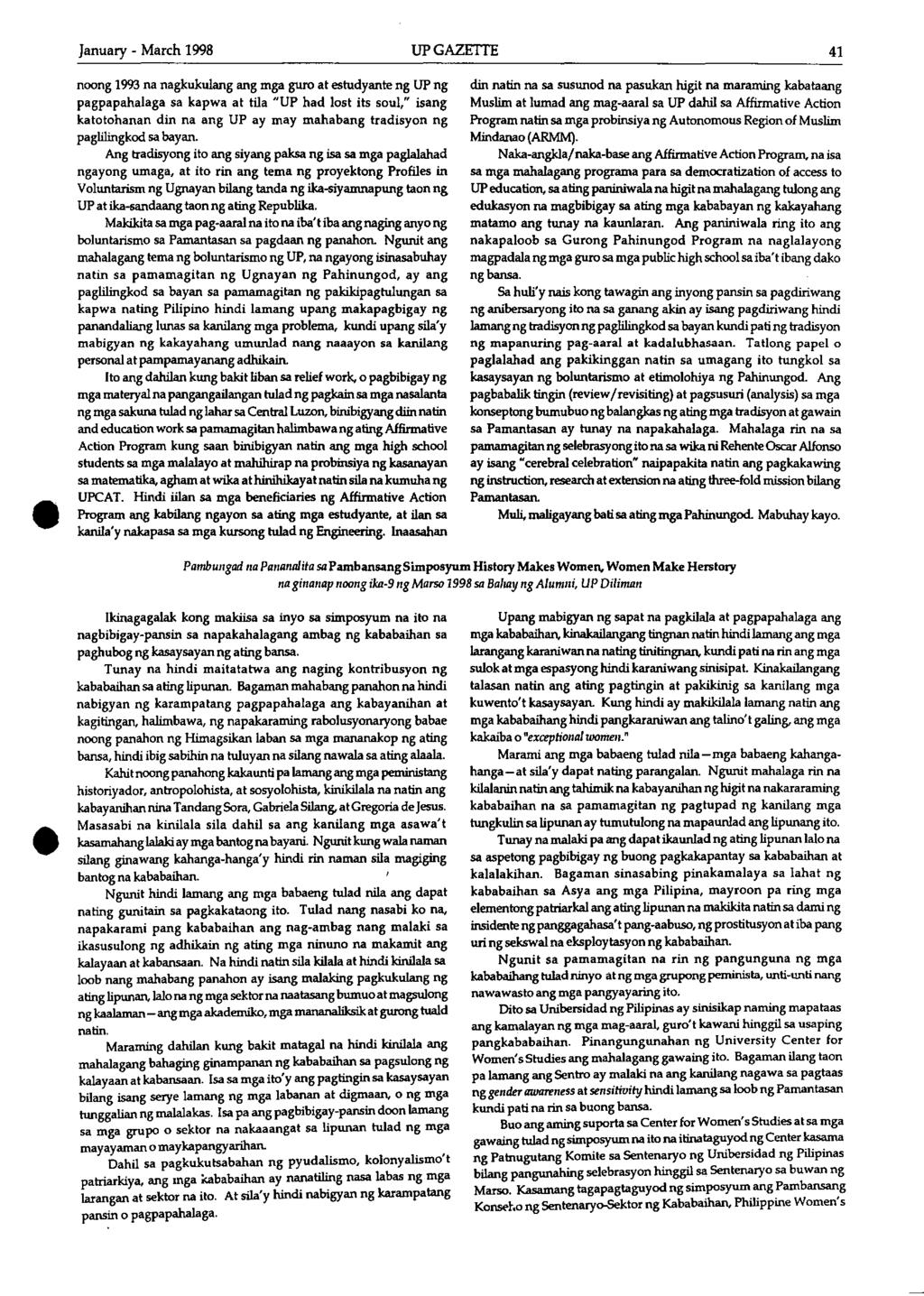 CONTENTS  January- March 1998 VOLUME XXIX, NUMBER 1  ISSNNo