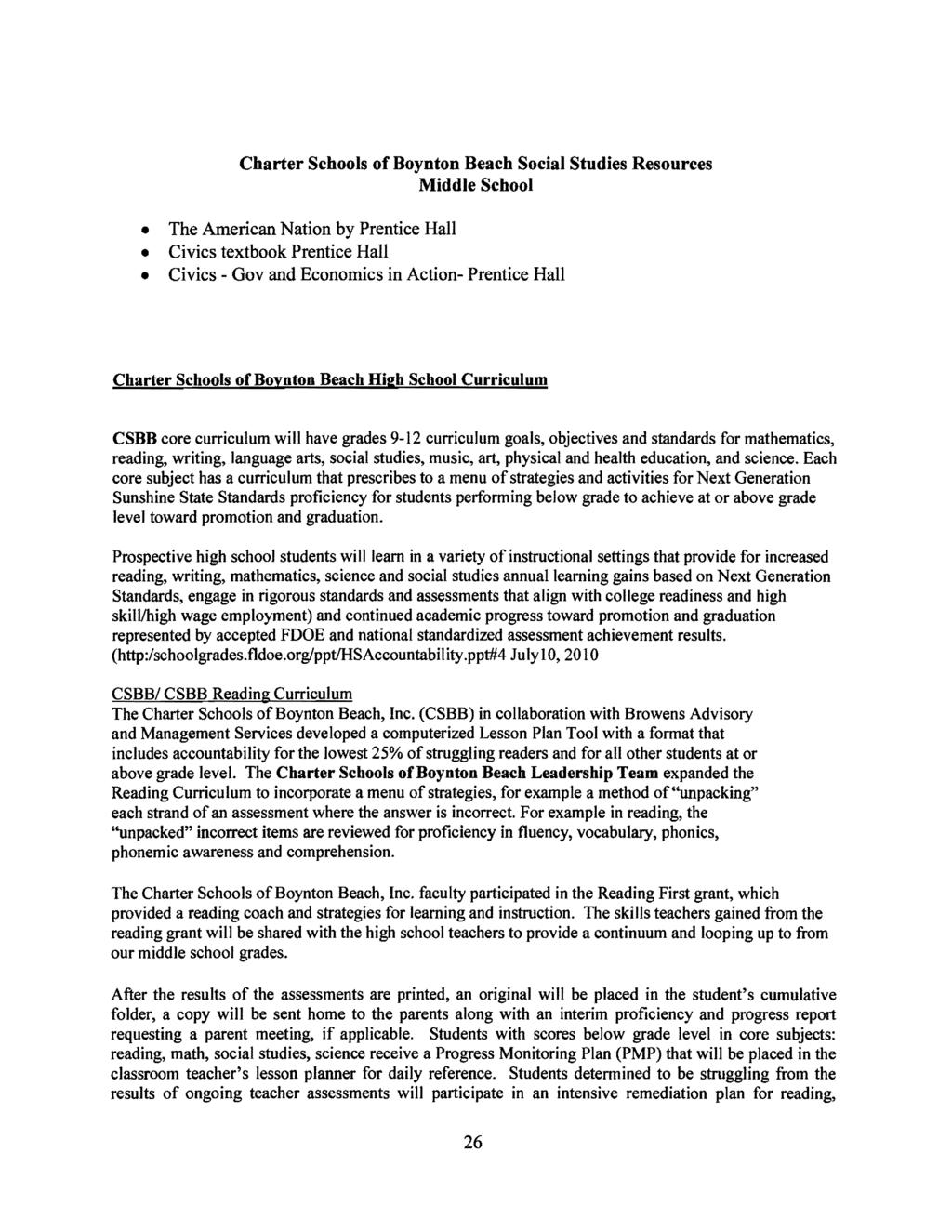 CHARTER SCHOOLS OF BOYNTON BEACH K-12 Authored by Pamela B