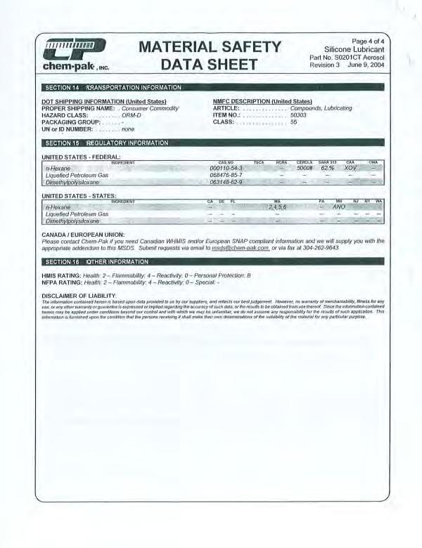 CHEMICAL IDENTITY* Label MANUFACTURER'S NAME MSDS# Name