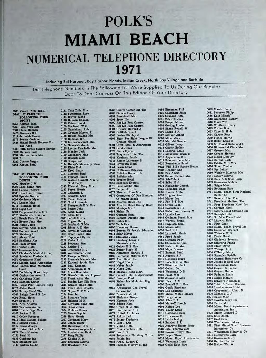 Polk S Miami Beach Numerical Telephone Directory 1971 Including Bal Harbour Bay Harbor Islands Indian