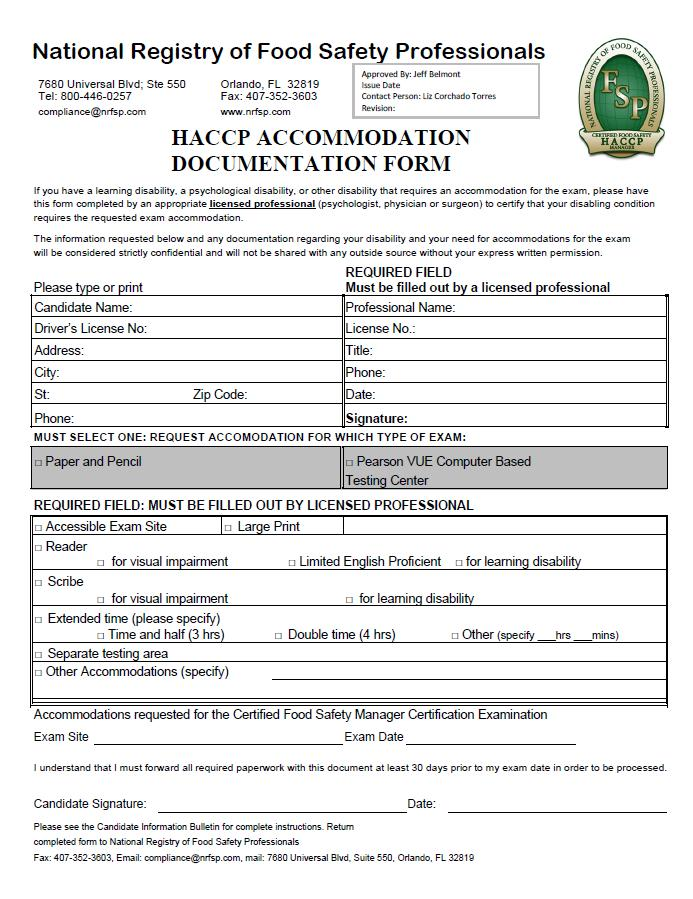 National Registry of Food Safety Professionals HACCP Test