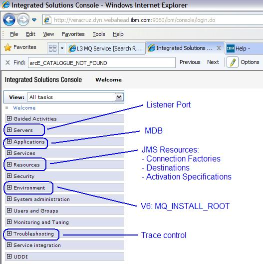 Quick Guide of the Administrative Console from WebSphere