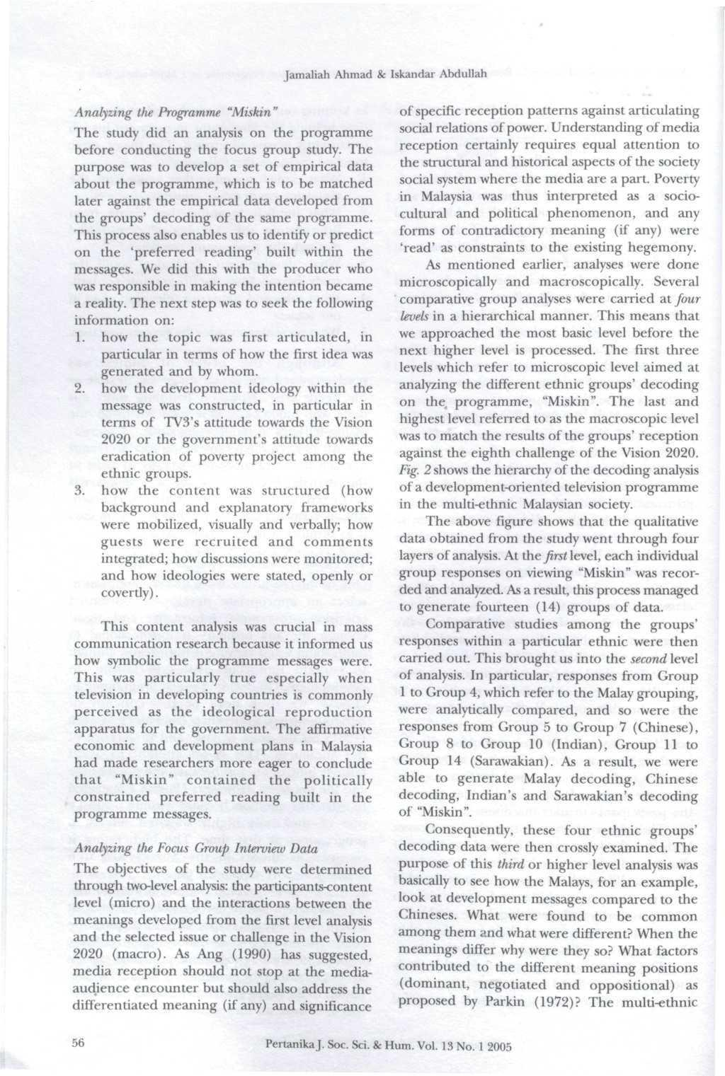 Social Science Humanities Volume 13 No 1 March 2005 Pertanika