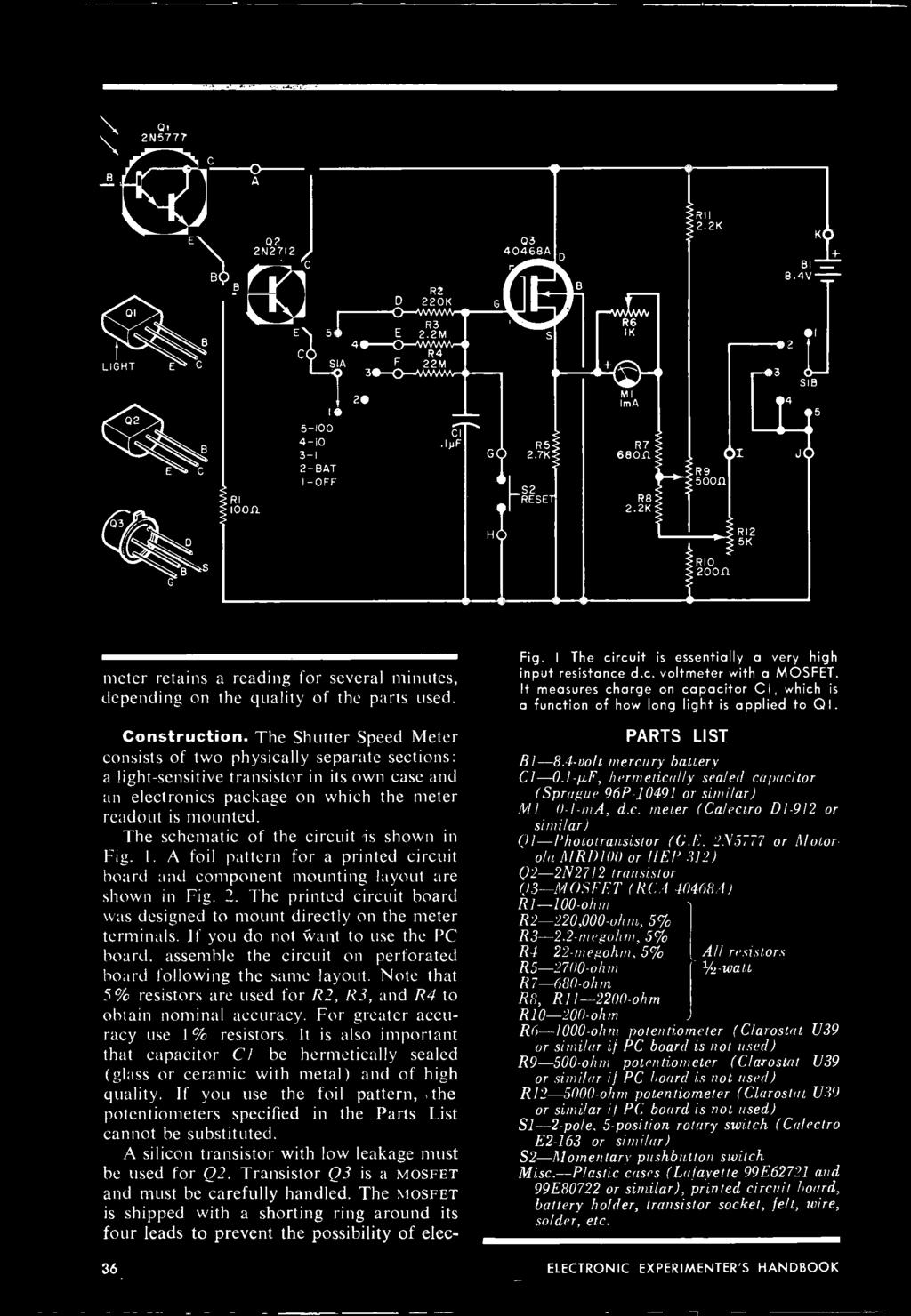 Handbook Experimenters 1973 Electronic Decoder Build The Cbs Ee Solderable Perfboard Med Copper Pad Circuit Board West Florida Shutter Speed Meter Consists Of Two Physically Separate Sections A Light Sensitive Transistor