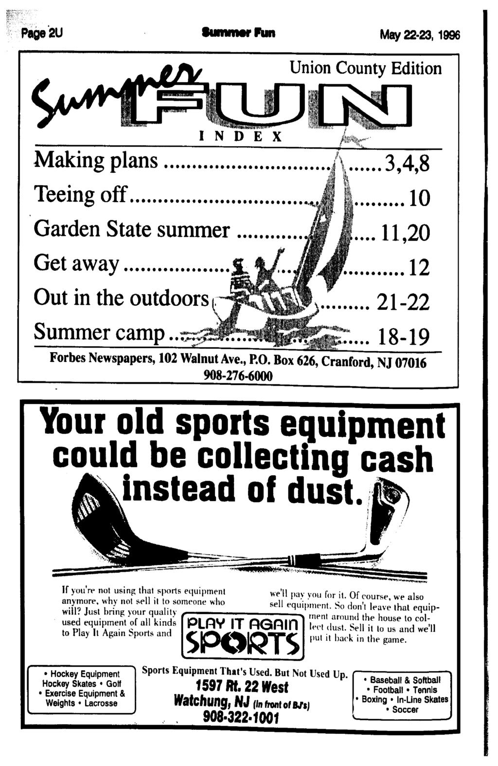 Page2U SunwMf Pun May 22 231996 Union County Edition I N D E X Making Plans