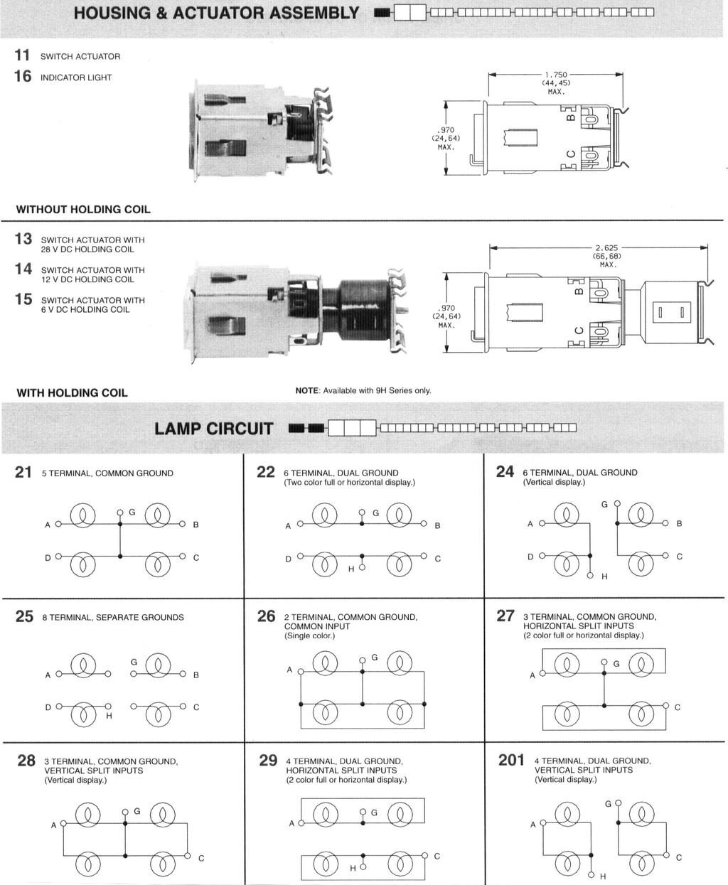 9 9m 9h Series Lighted Pushbutton Controls Indicators Pdf How To Wire Push Button Switch 15 A 3 Standard 4 Lamp Commericial Switches Military High Shock Illuminated Conforms Mil Prf 22885