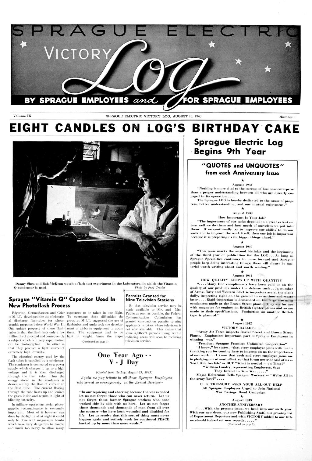 volume ix august 10 1946 number 1 eight candles on logs birthday cake sprague